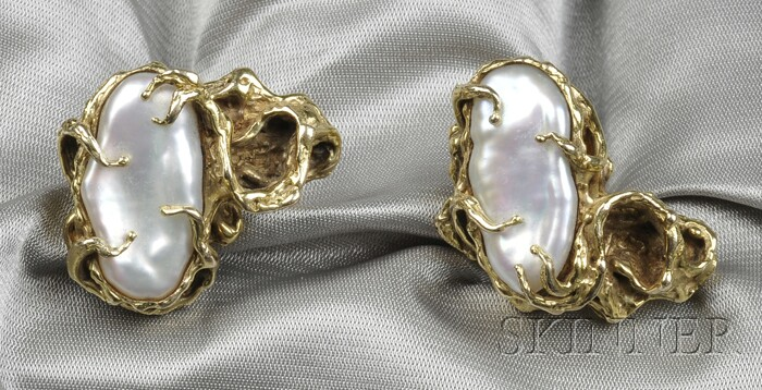 14kt Gold and Freshwater Pearl Cuff Links