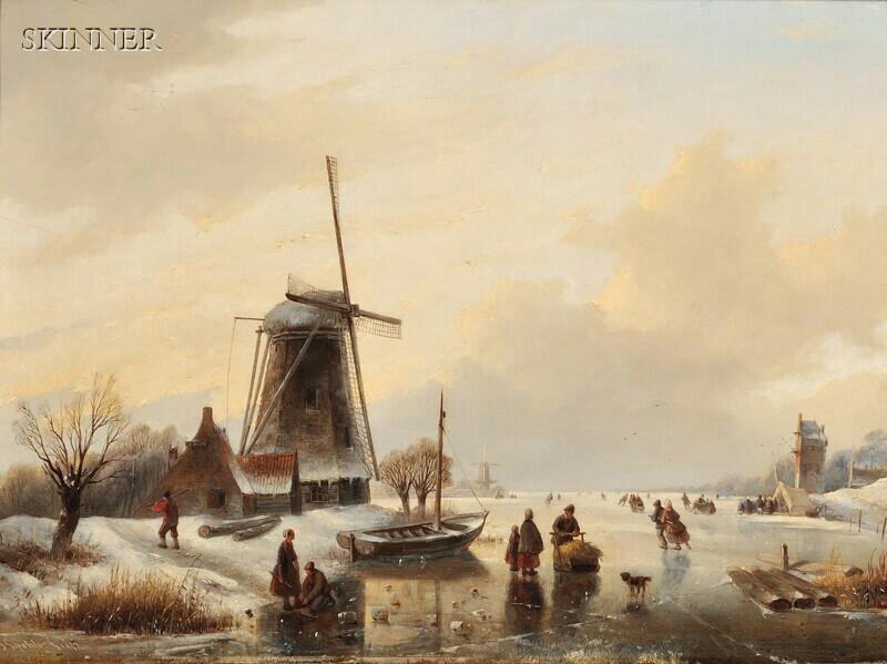 Jan Jacob Spohler (Dutch, 1811-1866)      Skaters on a Frozen Pond