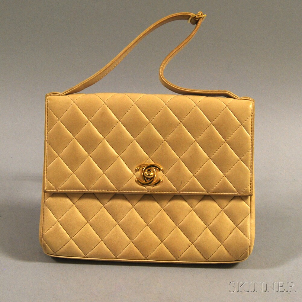 Chanel Camel-tone Quilted Lambskin Clutch