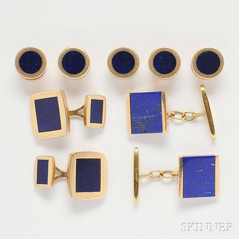 Group of 14kt Gold and Lapis Dress Items