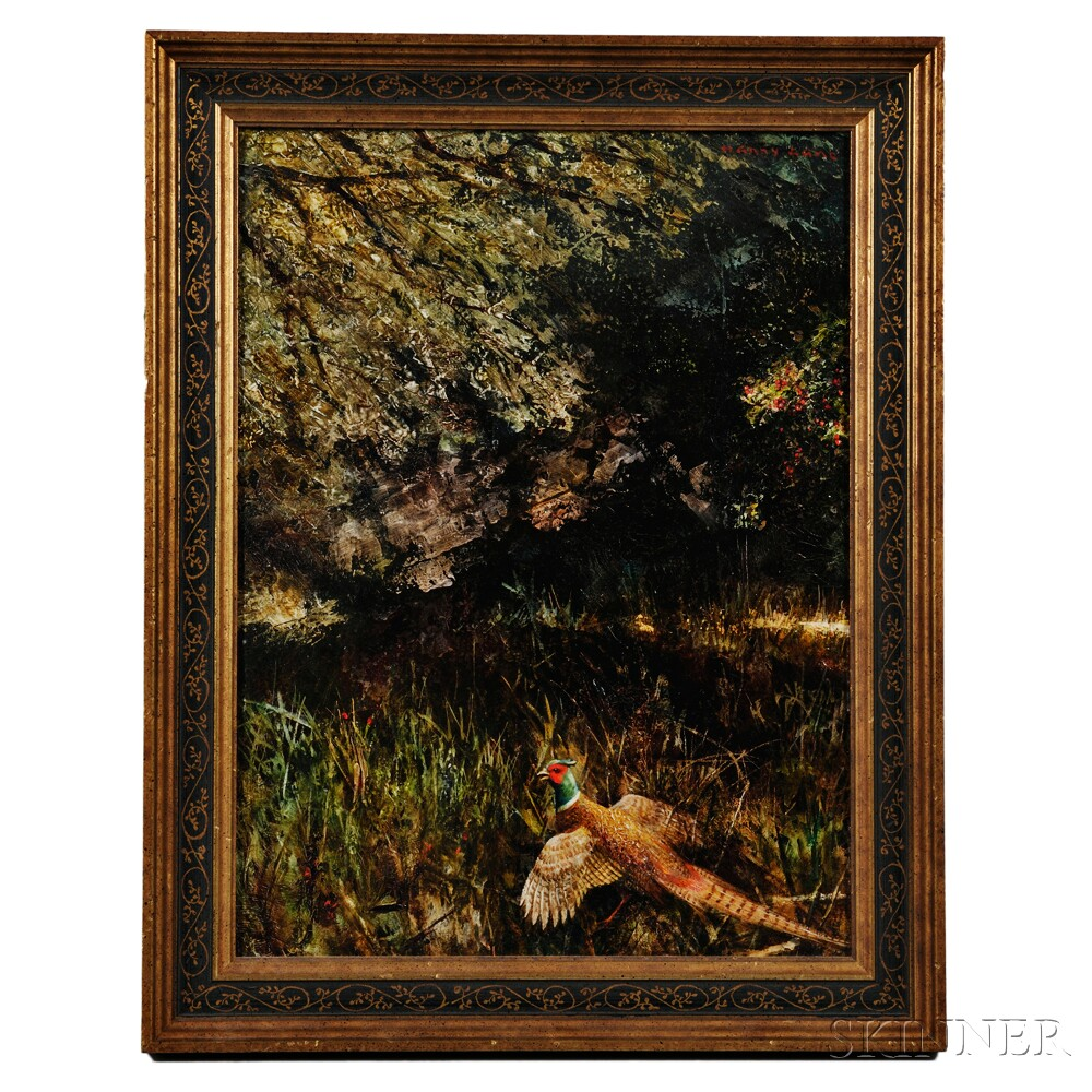 Harry Lane (American, 1891-1973)      Pheasant in an Autumn Wood