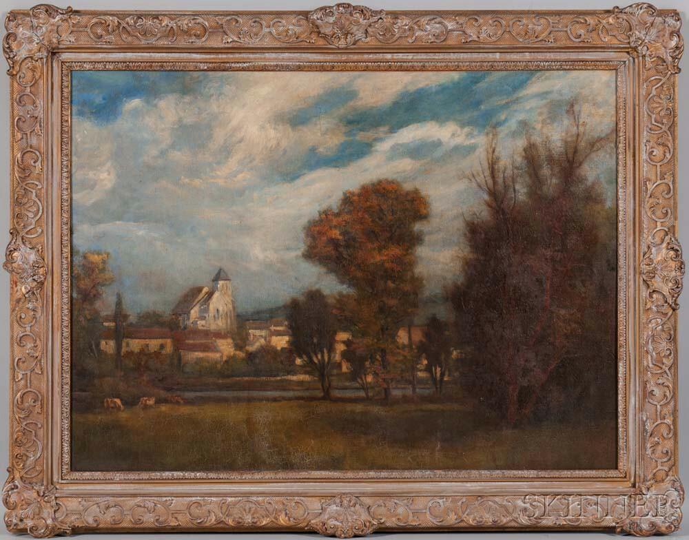 French School, 19th/20th Century      Autumn Landscape with Church.