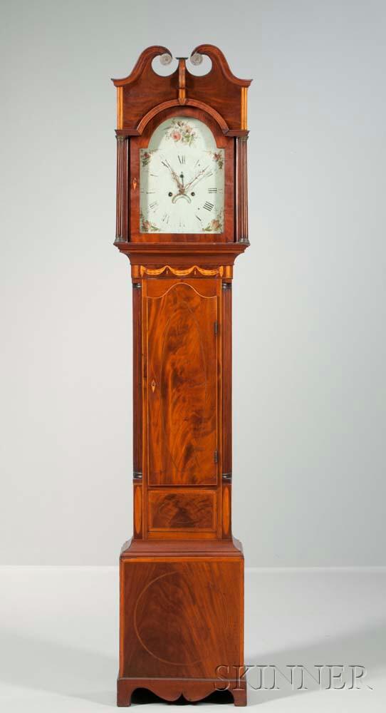 New York Mahogany Inlaid Tall Clock