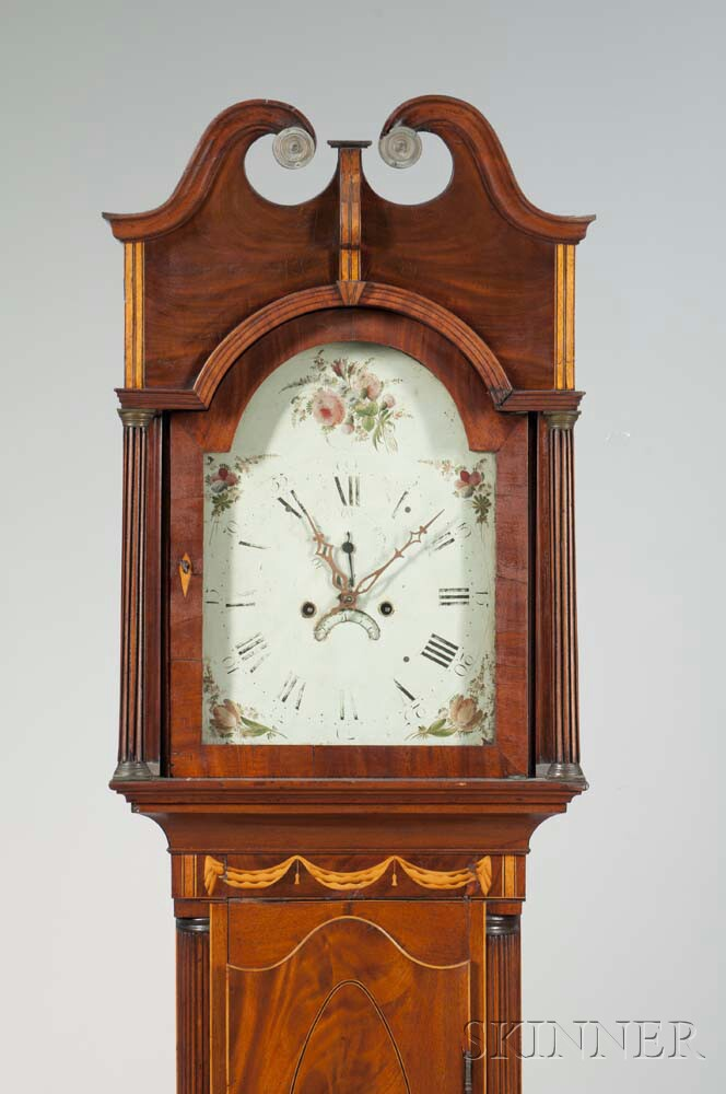 New York Mahogany Inlaid Tall Clock
