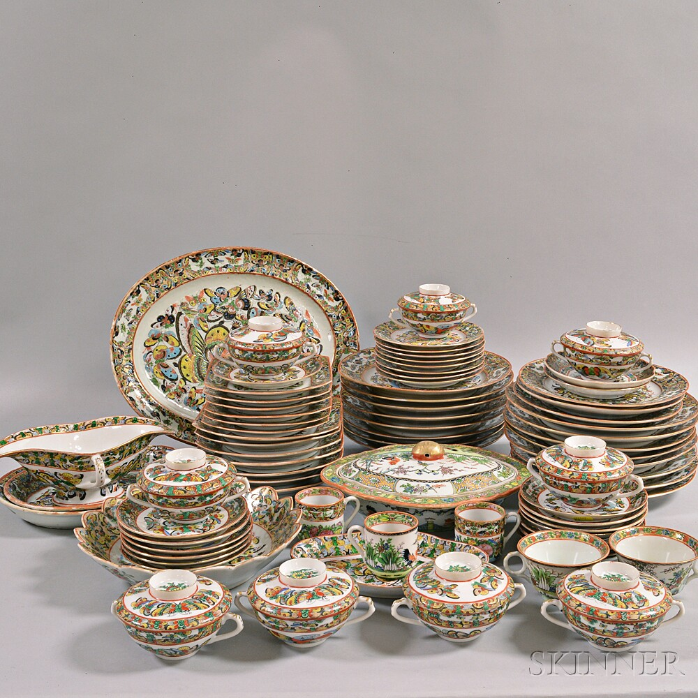 "Approximately Eighty-seven Pieces of Chinese Export ""Thousand Butterflies"" Porcelain"