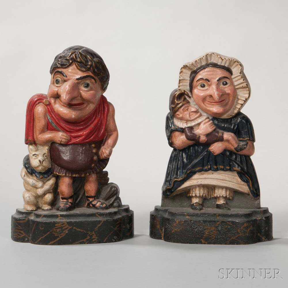 Pair of Cast Iron Polychrome Punch and Judy Doorstops