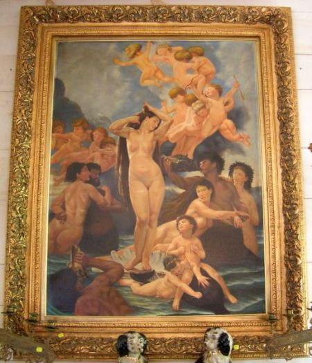 Large Framed Oil on Canvas Depicting the Triumph of Galatea