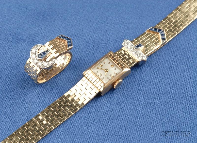 Retro Lady's Sapphire and Diamond Buckle Wristwatch, Concord
