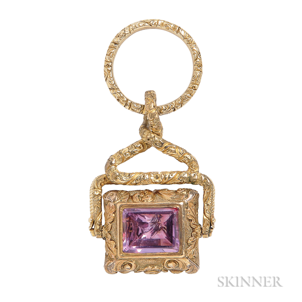Antique Gold Gem-set Watch Fob