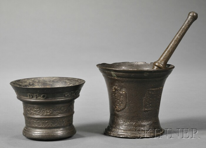 Two Bronze Mortars and a Pestle