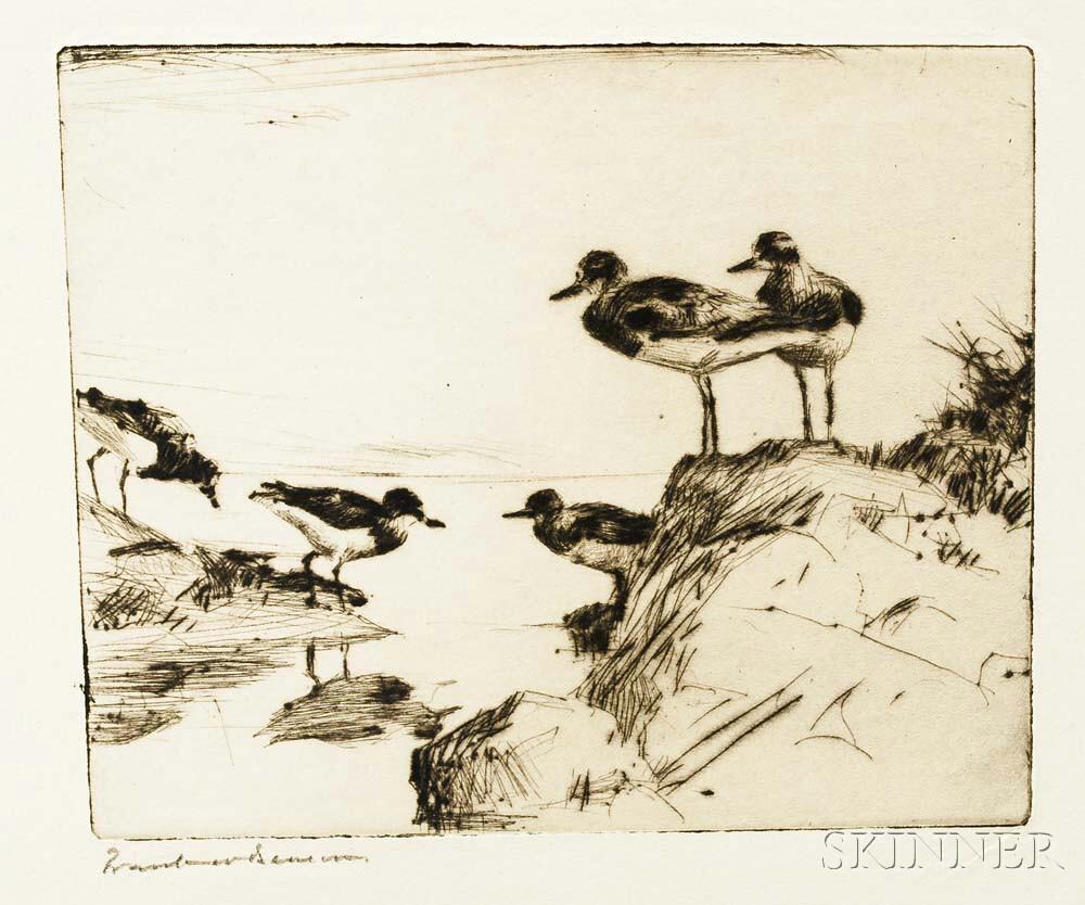 Frank Weston Benson (American, 1862-1951)      Study of Turnstones