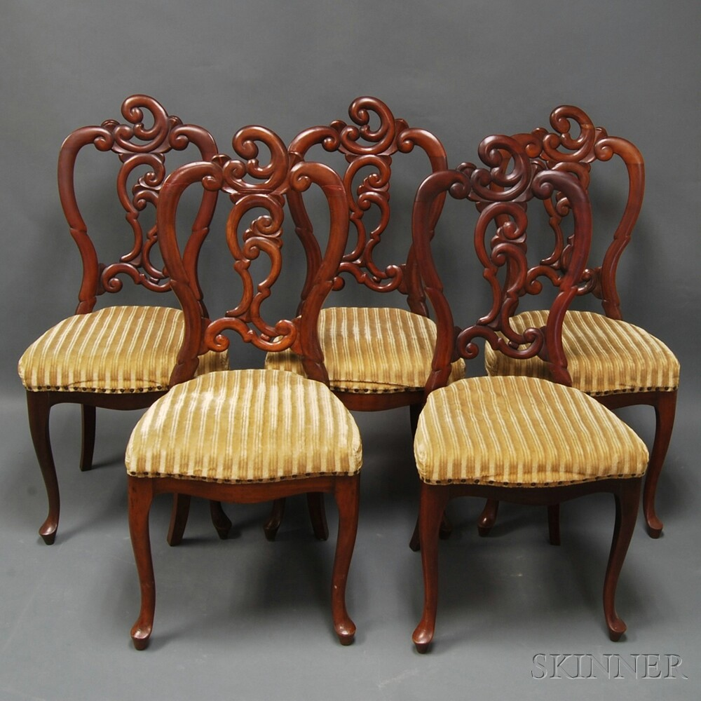 Set of Five Rococo Revival Carved Mahogany Side Chairs
