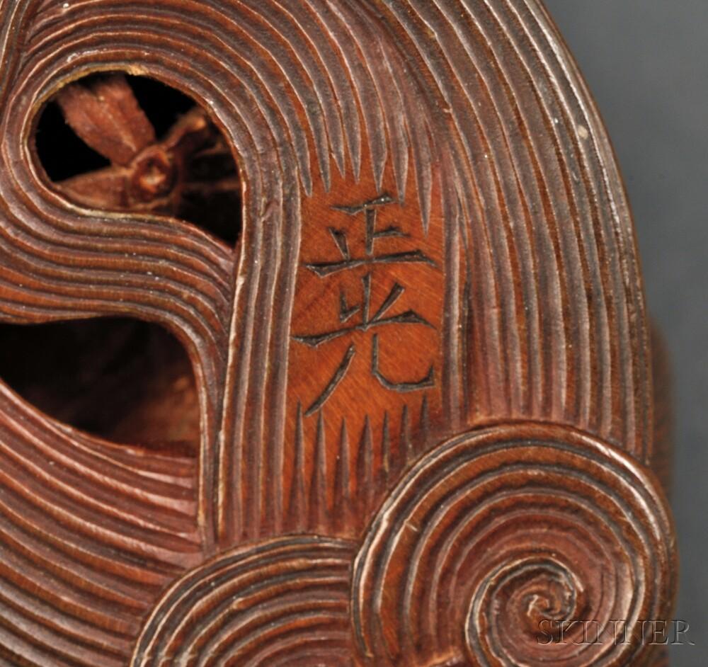 Wood Netsuke of a Lion