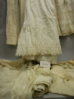 Large Lot of Victorian White Cotton Clothing and Undergarments, Etc.