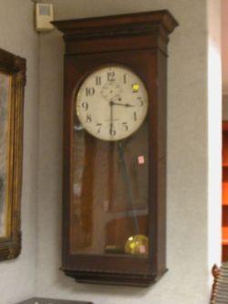 Seth Thomas Oak Weight-Driven Regulator Wall Timepiece.