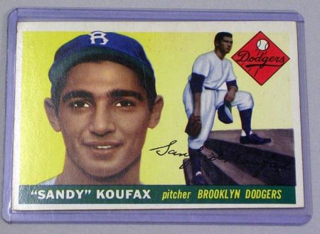 1955 Topps Baseball Card No. 123 Sandy Koufax.
