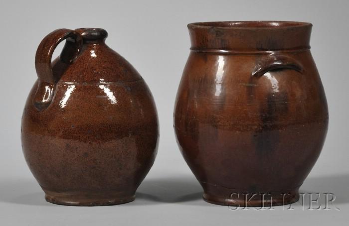 Ovoid Glazed Redware Jug and Crock