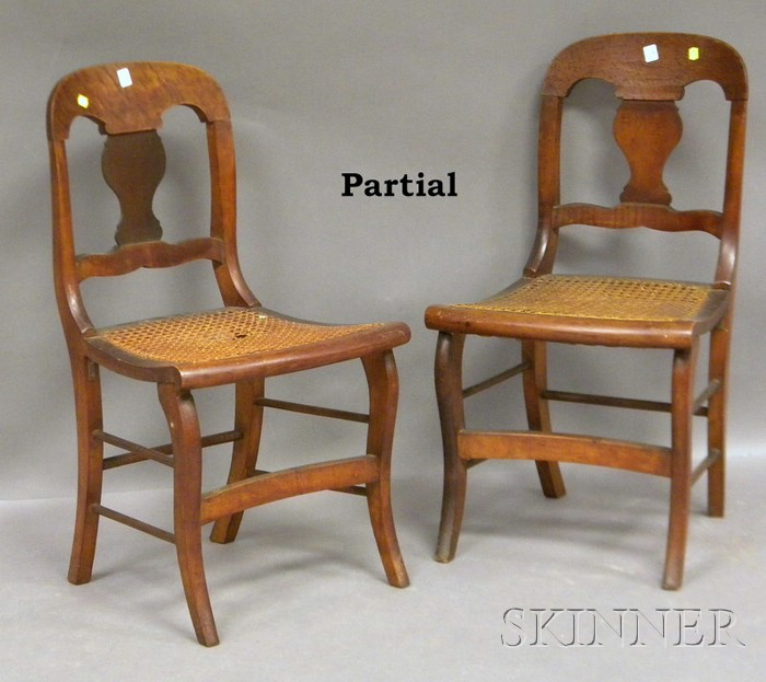 Six Classical Birds-eye Maple Veneer and Maple Ely Side Chairs with Caned Seats.