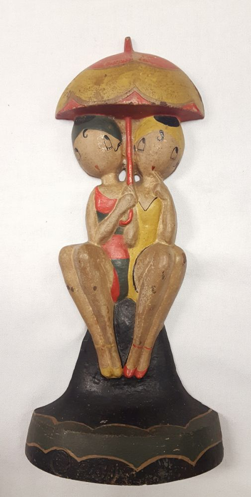 Cast Iron Polychrome Bathing Beauties Doorstop