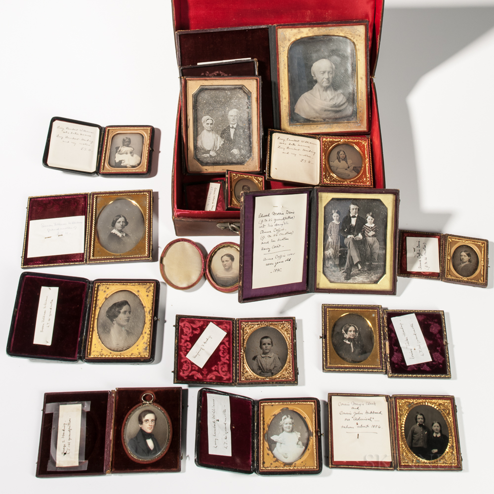 Fourteen Early Cased Photographs and a Portrait Miniature
