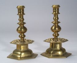 Pair of  Brass Candlesticks with Hexagonal Bases