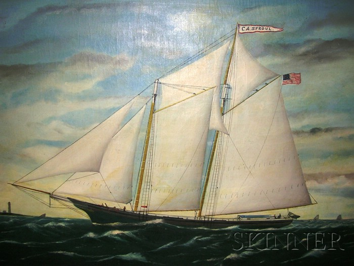 American School, 19th Century      Portrait of the Schooner CHARLIE A. SPROUL   with Distant Lighthouses.
