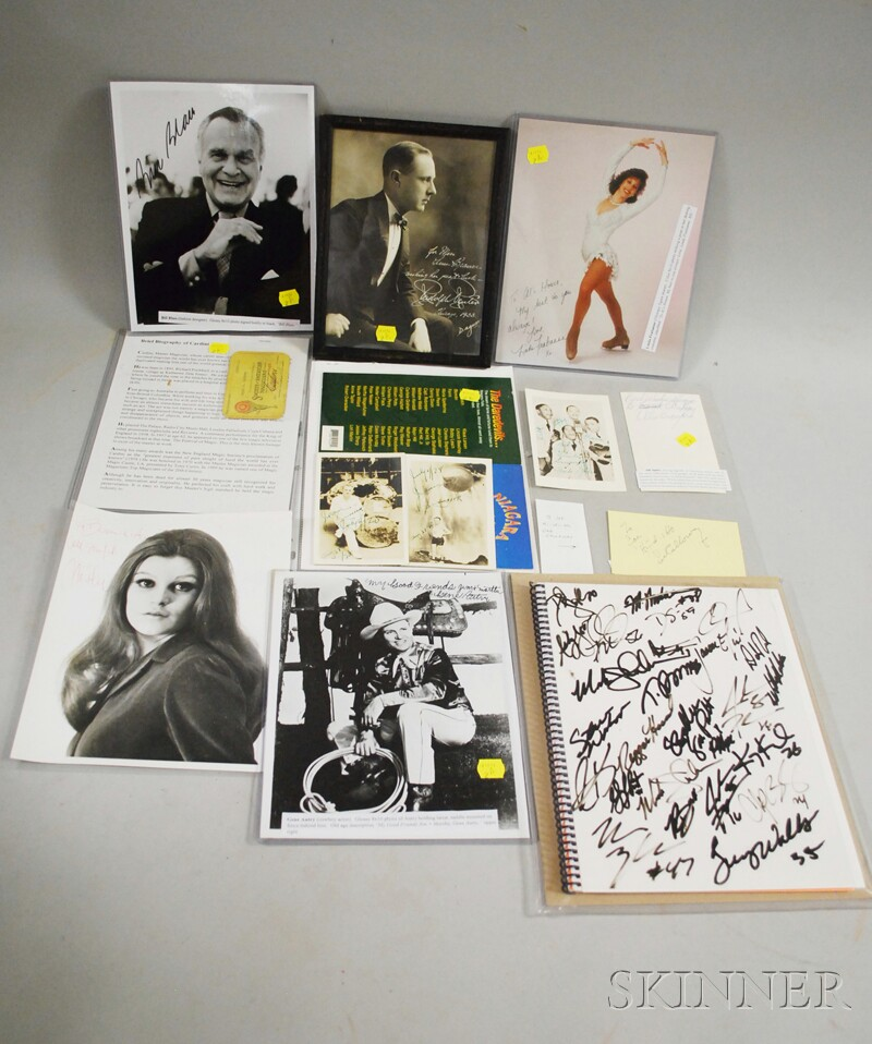 Twelve Assorted Celebrity, Entertainer, and Athlete Autographed Items