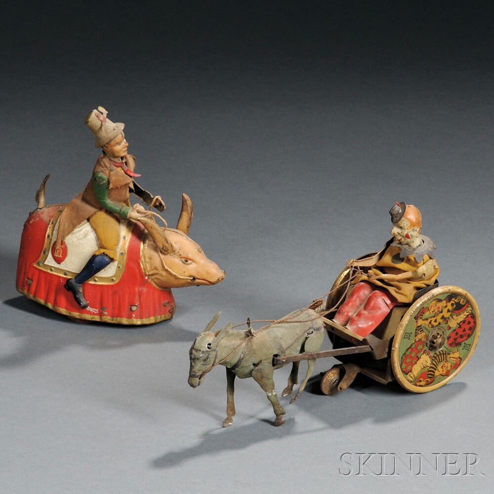 Two Lehmann Circus-themed Wind-up Tin Toys