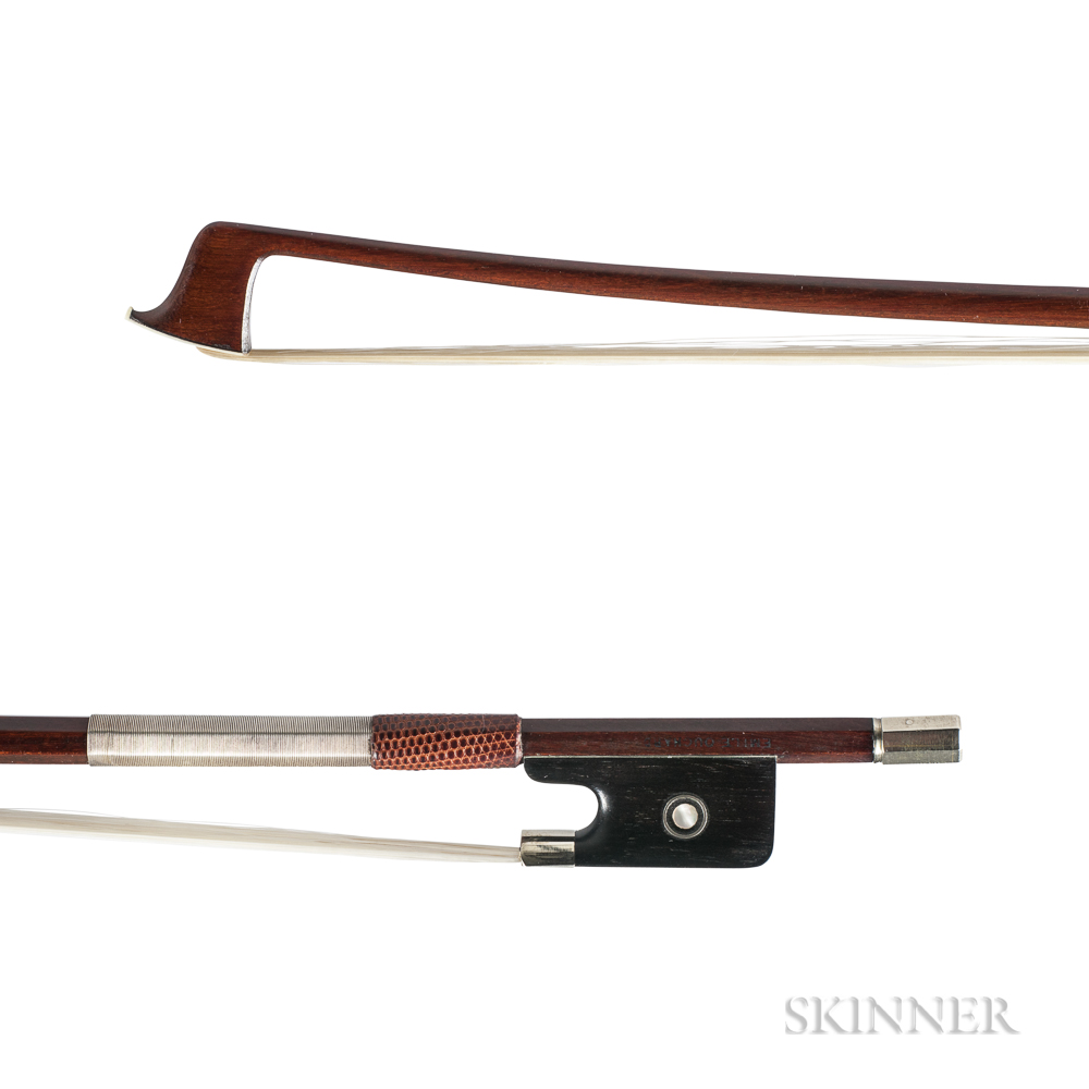 French Nickel-mounted Viola Bow, Émile François Ouchard