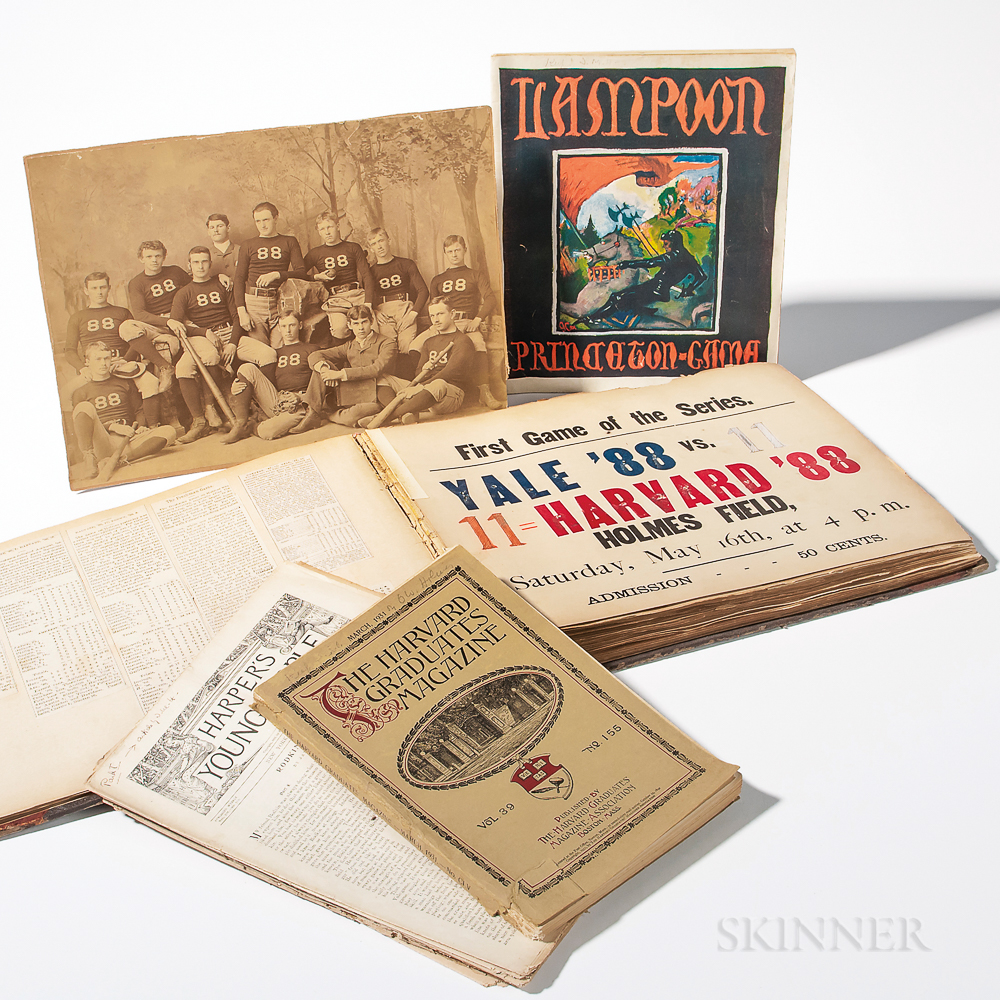 Harvard Scrapbook and Ephemera Related to 1880s Harvard Baseball