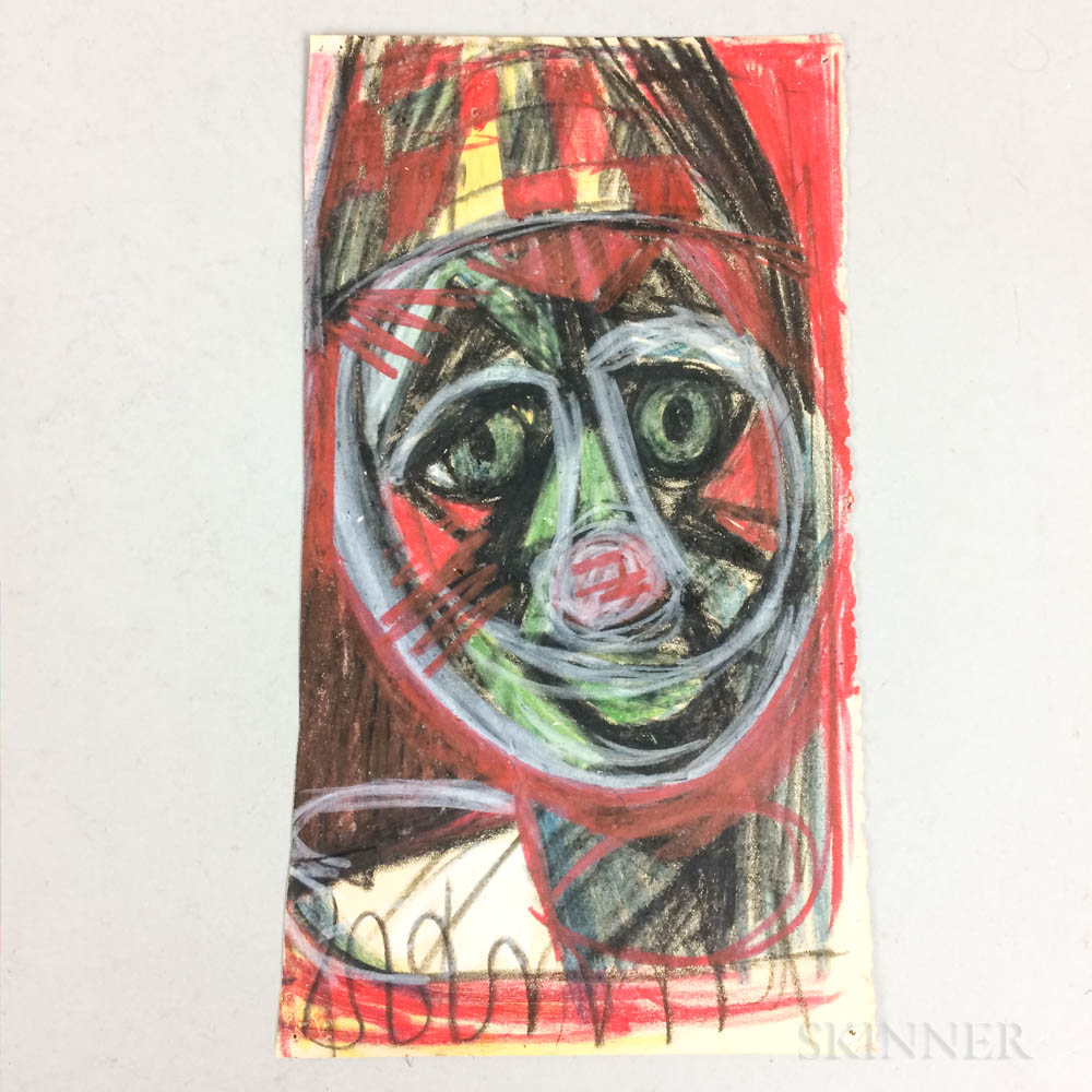 American/European School, 20th Century    Abstract Expressionist Head
