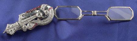 Art Deco Platinum and Diamond Lorgnette