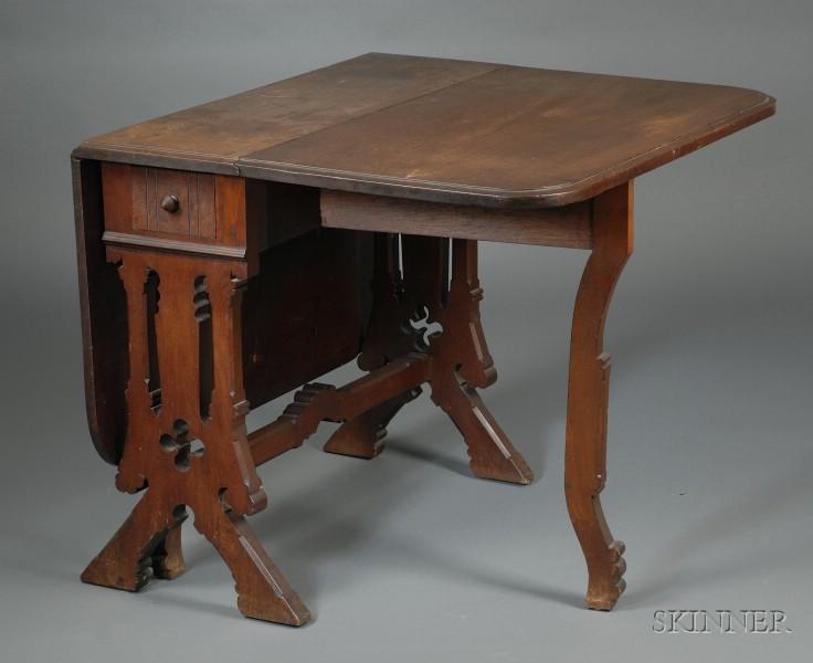 Gothic Revival Walnut Deep Drop-leaf Table
