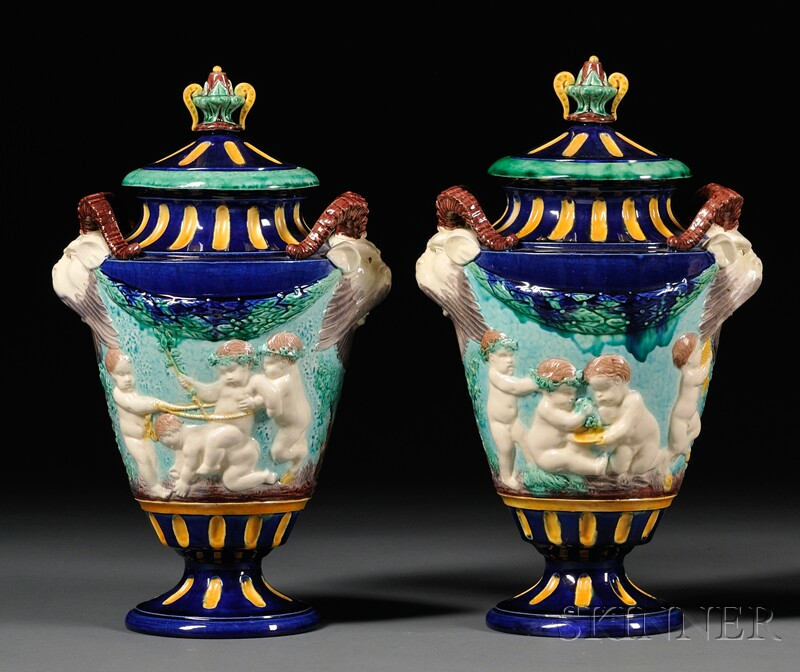 Pair of Majolica Vases and Covers