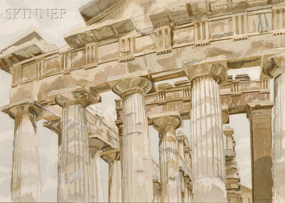 Philip Pearlstein (American, b. 1924)      Temple at Paestum