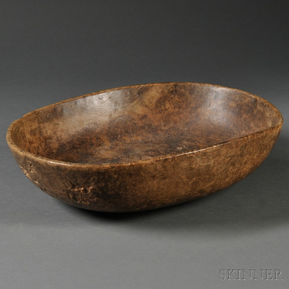 Hand-hewn Oval Burl Bowl
