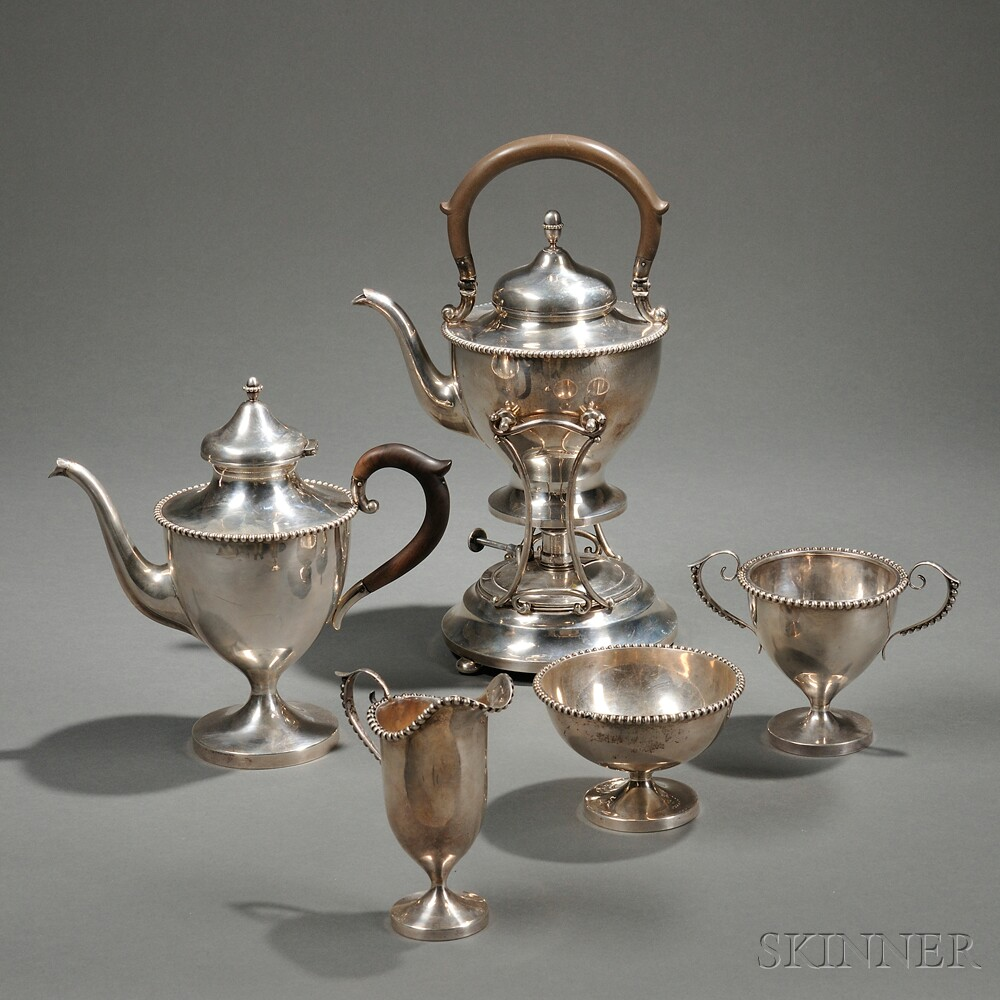Four-piece Simons Brothers Sterling Silver Tea Service