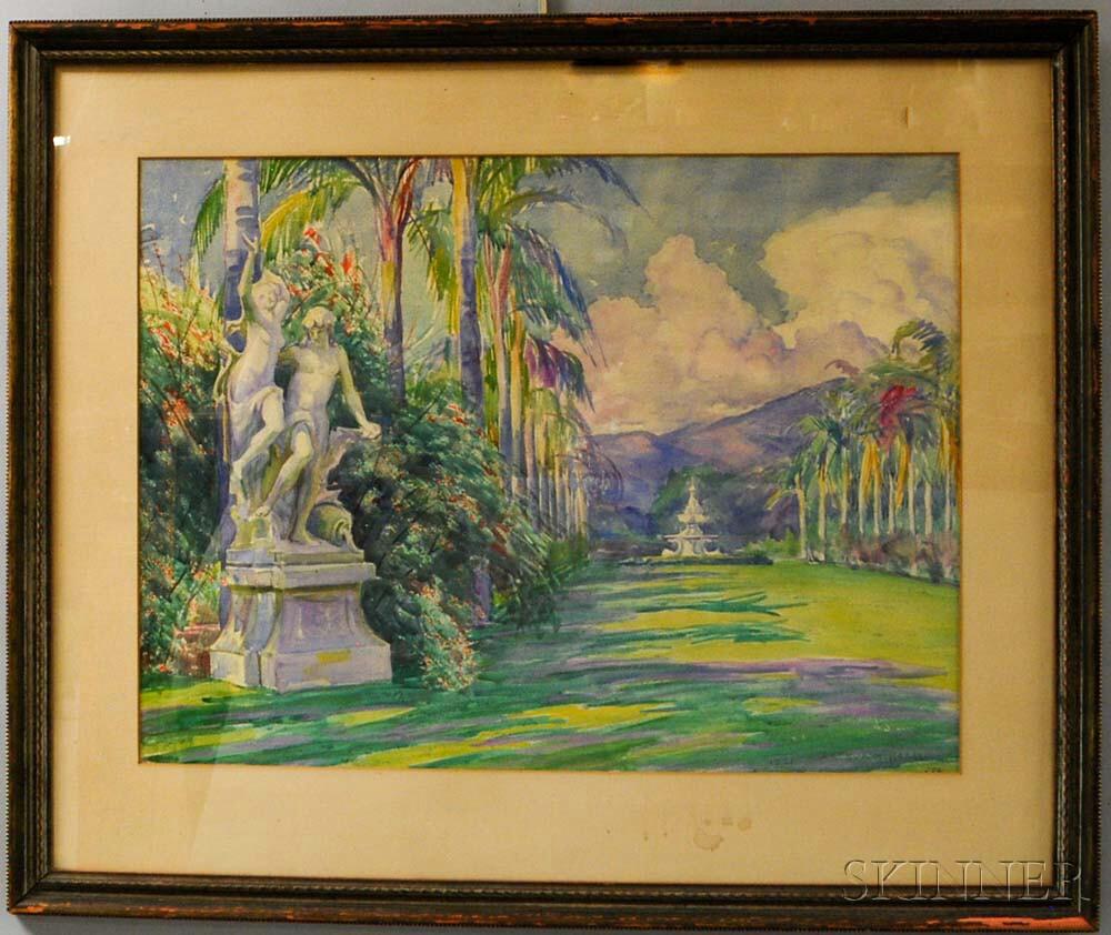 Arthur Merton Hazard (American, 1872-1930)      Tropical Garden Allée