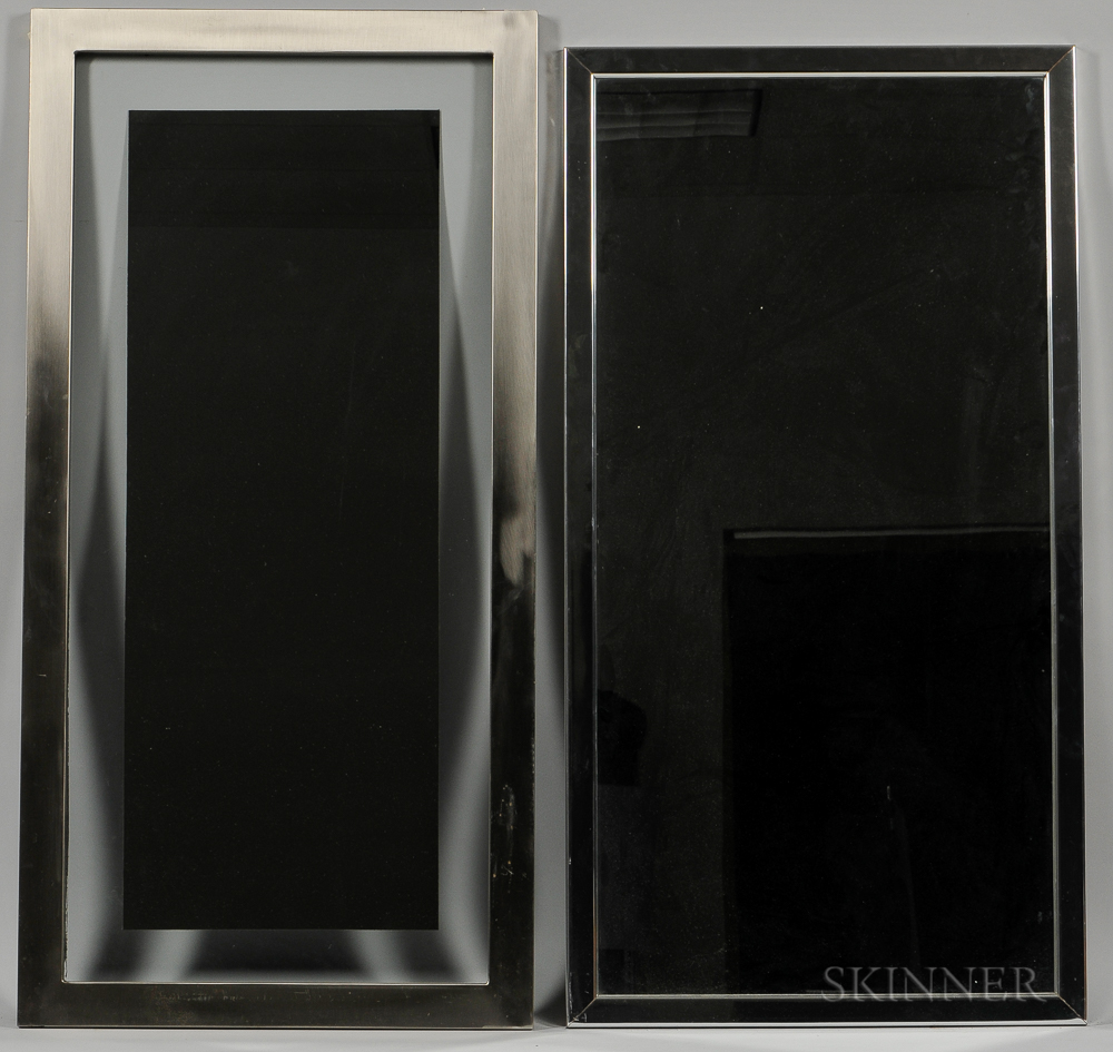 Two Contemporary Chrome-framed Mirrors