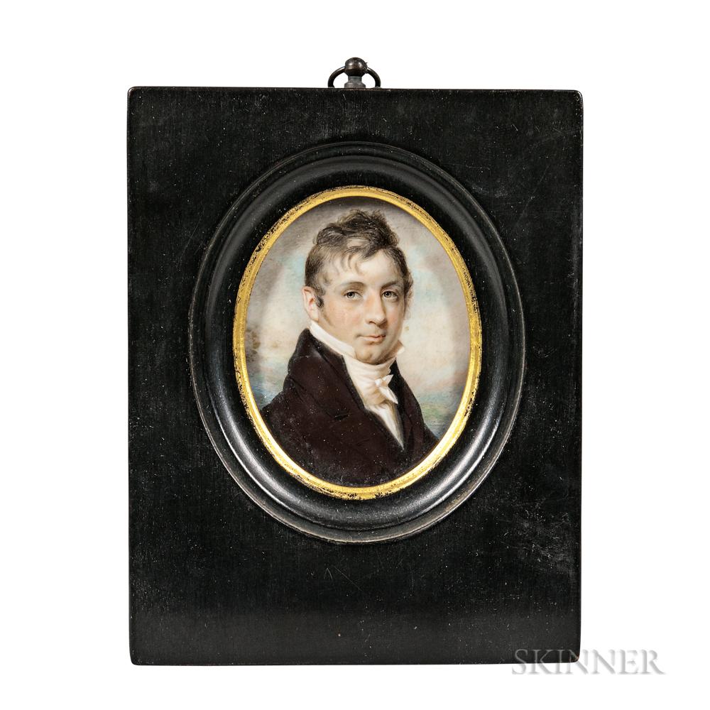 Edward Greene Malbone (Rhode Island, 1777-1807)      Miniature Portrait of John Waters