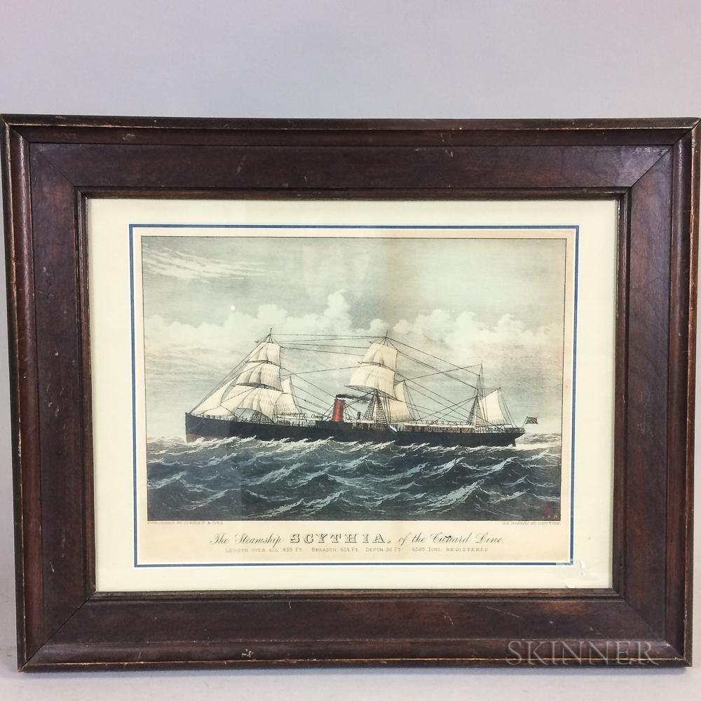 Framed Currier & Ives Print The Steamship Scynthia
