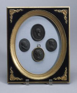 Four Wedgwood Black Basalt Portrait Medallions