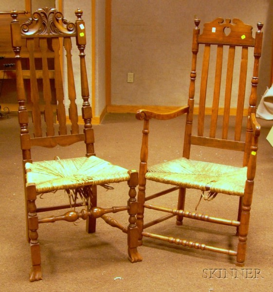 Two Bannister-back Chairs with Woven Rush Seats