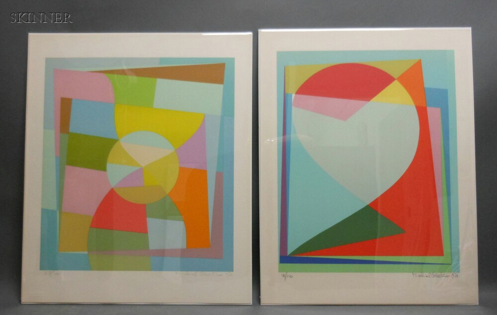 Michiel Gloeckner (American, 1915-1989)      Two Abstract Compositions: Untitled (Curves)