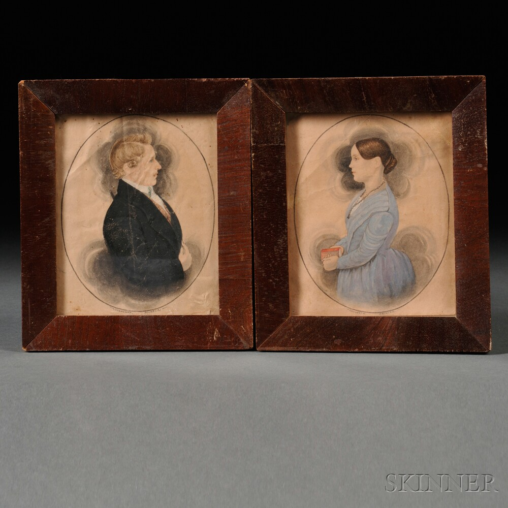 James Sanford Ellsworth (American, 1802/03-1874)      Pair of Portrait Miniatures of Simon and Margaret Douglas Bottum.