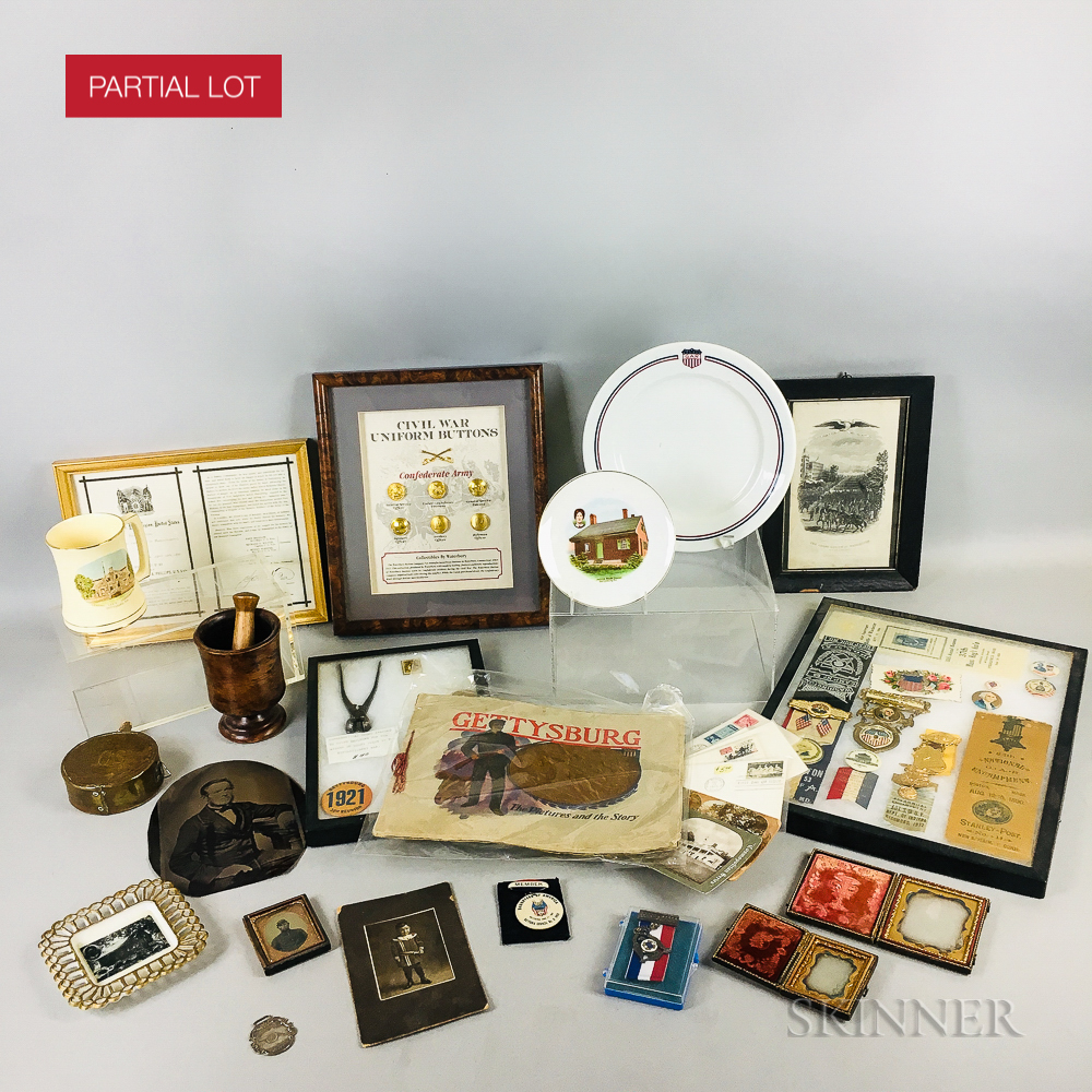 Group of GAR Pins, Cards, and Commemorative Plates