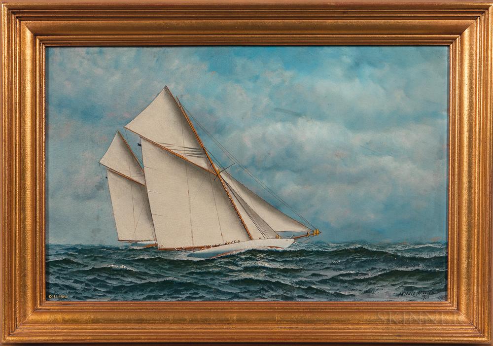 Antonio Nicolo Gasparo Jacobsen (Danish/American, 1850-1921)      The Yawl Yacht Columbia
