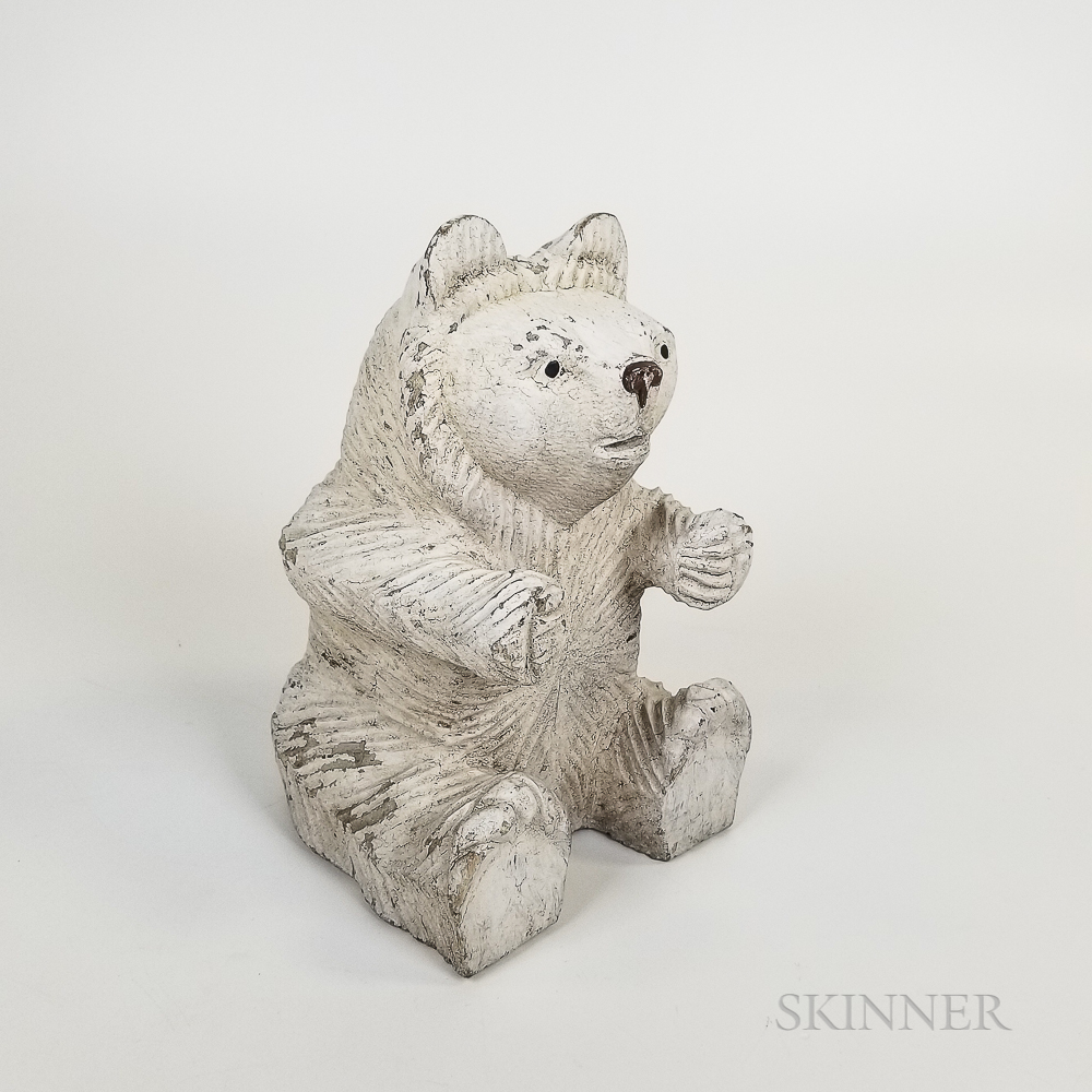 Folk Art Carved and White-painted Wood Polar Bear