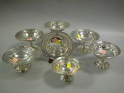 Six Assorted Sterling Silver Compotes and a Small Bowl.