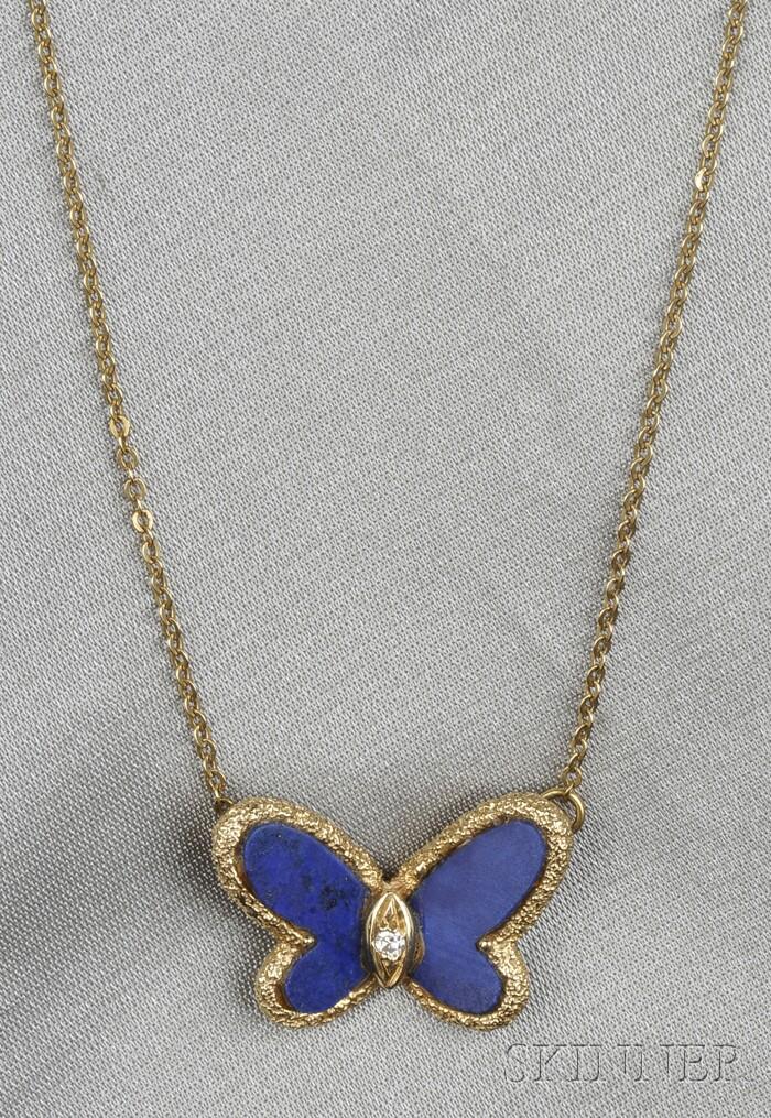 18kt Gold, Lapis, and Diamond Pendant/Necklace, Van Cleef & Arpels
